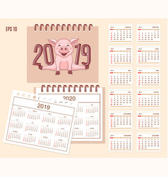 spiral desk calendar year 2019 2020 with cute vector image