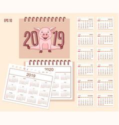 Spiral desk calendar year 2019 2020 with cute vector