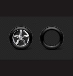 Stock realistic car wheels set vector
