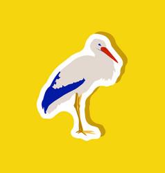 Stork paper sticker on stylish background vector