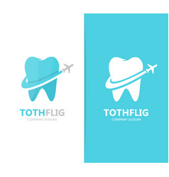 Tooth and airplane logo combination vector