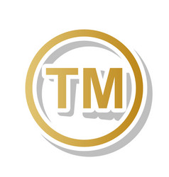 Trade mark sign golden gradient icon with vector