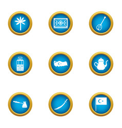 Turkish stereotype icons set flat style vector