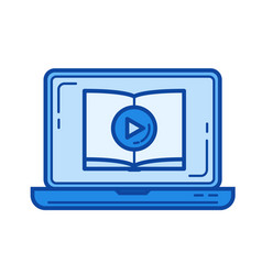 video tutorial line icon vector image