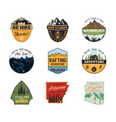 Vintage camp logos mountain color badges set vector