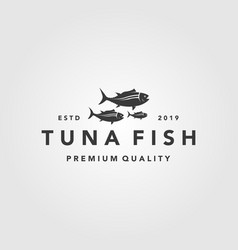 vintage tuna fish logo label seafood designs vector image