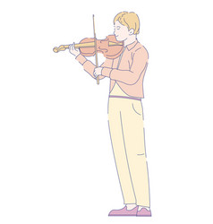 violinist playing violin with bow classical music vector image