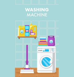 washing machine flat flyer template with text vector image