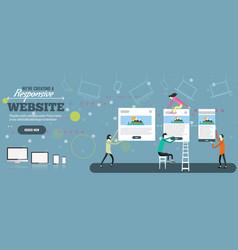 Web designers creatign responsive website tiny vector