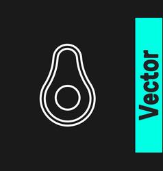 white line avocado fruit icon isolated on black vector image