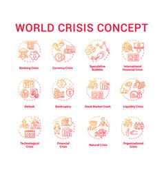 World crisis concept icons set vector