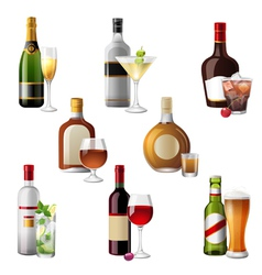 alcohol bottles and cocktails vector image vector image
