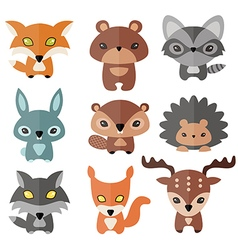 Cute forest animals vector image