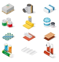Decoration and insulation materials isometric icon vector image