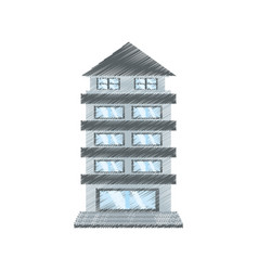drawing building apartment family vector image