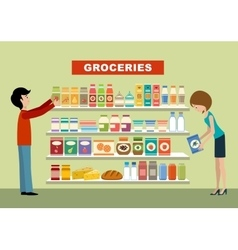 People in a supermarket Groceries vector image vector image