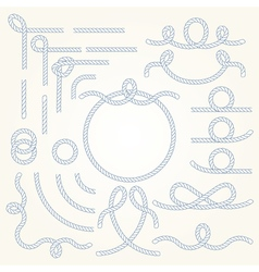 Rope border elements vector image