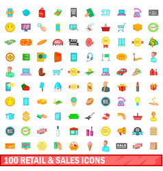 100 retail and sales icons set cartoon style vector image vector image