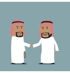 Business handshake of arab businessmen vector