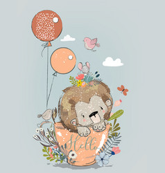 cute lion on cup with balloons vector image vector image