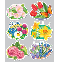 Stickers flowers vector image