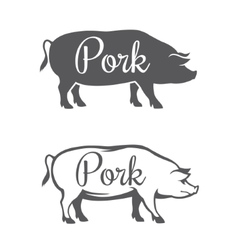 Two pork silhouettes vector image vector image