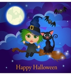 Witch and cat flying on a broom under the moon vector image vector image