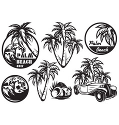 a set of monochrome templates with different palm vector image