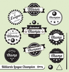 Billiards Champion Labels vector image
