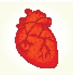 Pixel art heart isolated vector image vector image