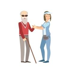 Volunteer Helping A Blind Old Man vector image vector image