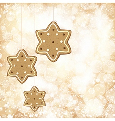 Christmas background with golden lights and vector image