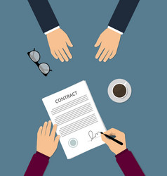 contract signing flat vector image vector image