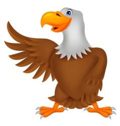 Eagle cartoon waving vector image