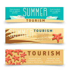 summer tourism banner template with yacht and vector image vector image