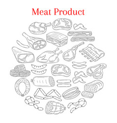 with different kinds of meat vector image vector image