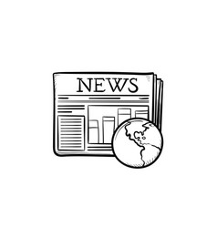 a newspaper with a globe hand drawn outline doodle vector image