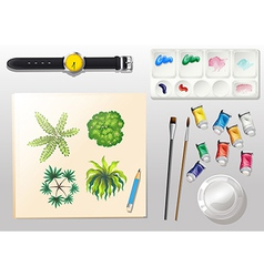 A topview of the materials for painting and a vector