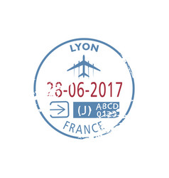 arrival to lyon airport isolated visa stamp vector image