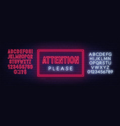 attention please neon sign on dark background vector image