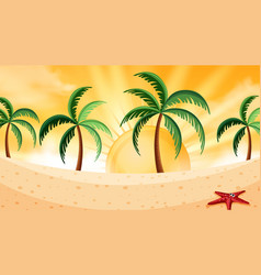 background design landscape with starfish on vector image