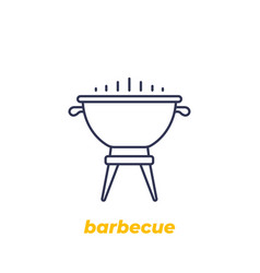 barbecue grill icon linear vector image