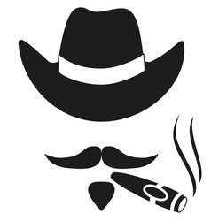 black and white smoking cowboy avatar silhouette vector image