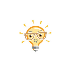 Brilliant bulb geek symbol energy logo vector