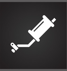 Car exhaust system icon on black background for vector