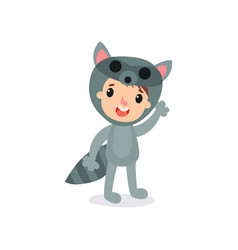 Cartoon joyful kid wearing raccoon jumpsuit vector