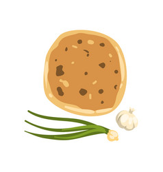 cartoon of khachapuri green onion vector image