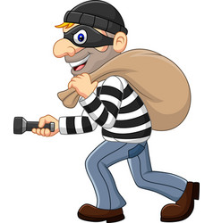 Cartoon thief walking and carrying a bag vector