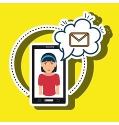 cartoon woman smartphone cloud email vector image