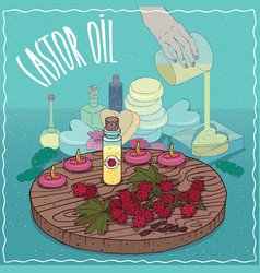 Castor oil used for soap making vector